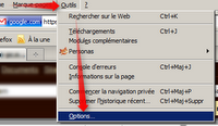 Mozilla Firefox - Ouvrir les options